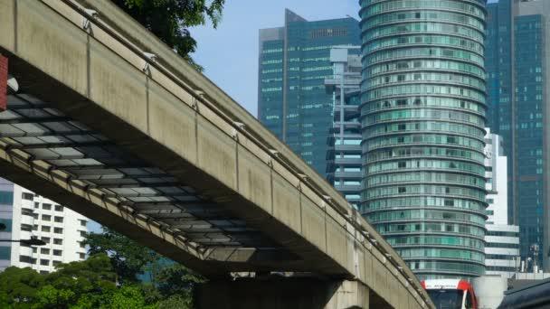 KUALA LUMPUR, MALAYSIA - JANUARY 24, 2020: Monorail train in the center of Kuala Lumpur city - the shopping and entertainment district of Kuala Lumpur, Malaysia.