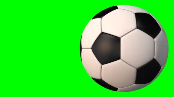 Fotbalová rotující koule 3D animace na zelené chroma klávesě. Bezešvé smyčkové pozadí.