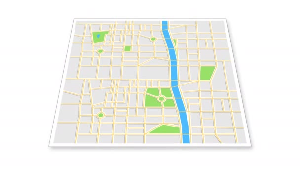 Navigation map with checkpoint icons. Traveling city concept. Animation of an app screen at white background.