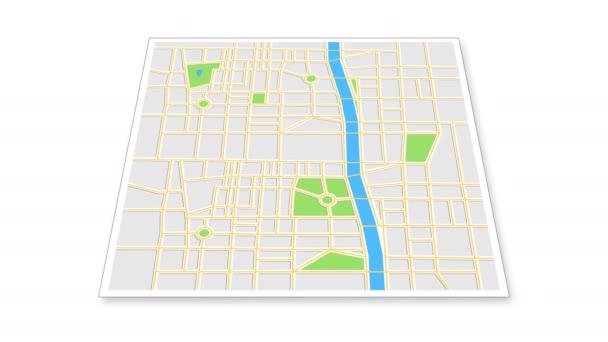 Navigační mapa s ikonami checkpoint. Cestování po městě. Animace obrazovky aplikace na bílém pozadí.
