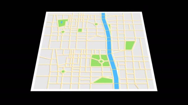 Navigační mapa s ikonami checkpoint. Cestování po městě. Animace obrazovky aplikace na černém pozadí.