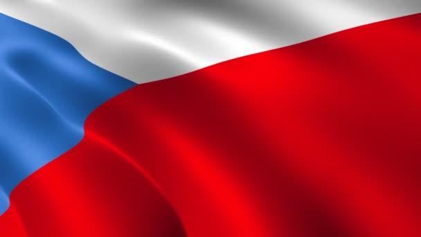 Vlajka České republiky vlaje ve větru. Realistické pozadí vlajky. Pozadí animace smyčky.