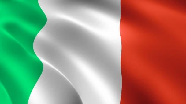 Olasz zászló lengett a szélben. Reális zászló háttér. Looped animációs háttér.