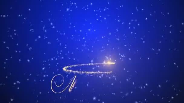 Veselé Vánoce třpytivé nápisy modré pozadí. Veselé Vánoce a šťastný nový rok pozadí. Sněhové vločky na černém pozadí.