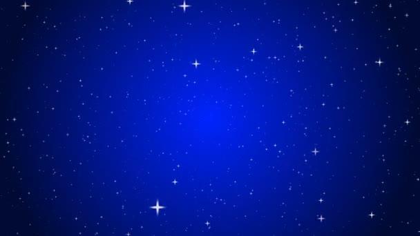 Zářící třpytivé částice modrého pozadí. Bezešvé smyčkové animace.
