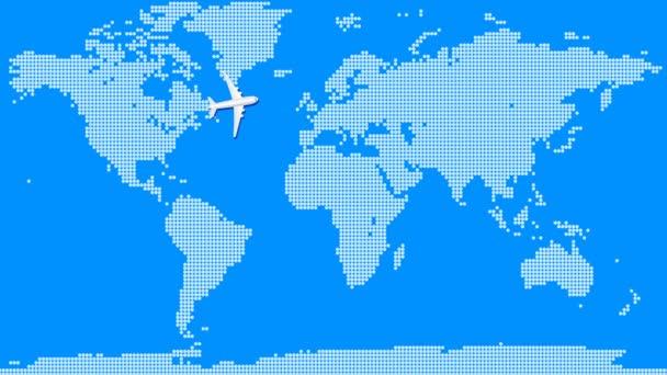 Animace letadla přeletí nad modrou mapou světa. Letní prázdniny a pojetí cestování. Bezproblémová pohybová grafická animace.