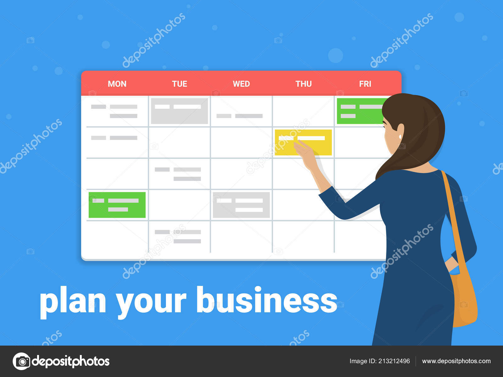 Schedule Planner Concept Vector Illustration Young Woman Standing
