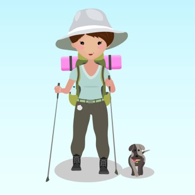 Young woman doing nordic walking with sticks. Young woman walking the Camino de Santiago with a dog. Caucasian ethnicity. Cheerful backpacker hiking during a summer trip. Backpacker illustration.