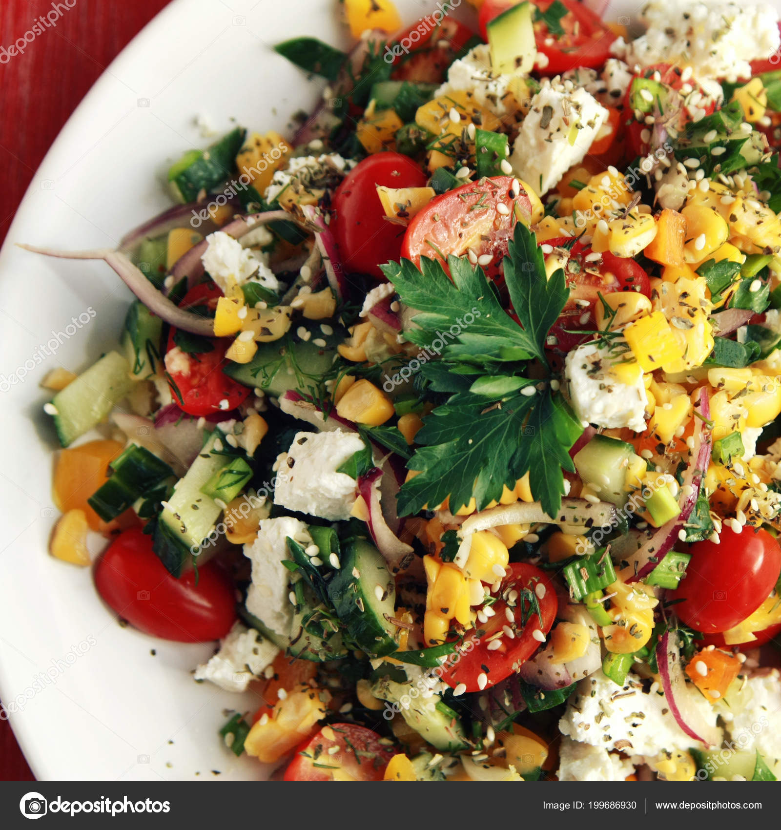 Pleasing Colorful Vegetable Mix Simple Low Calories Salad Cherry Interior Design Ideas Clesiryabchikinfo