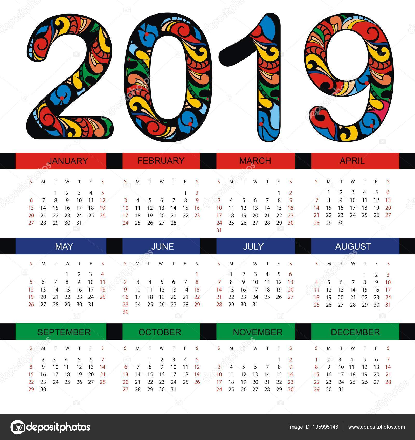 Calendar 2019 Business Template Stock Vector C Ksyshakiss 195995146