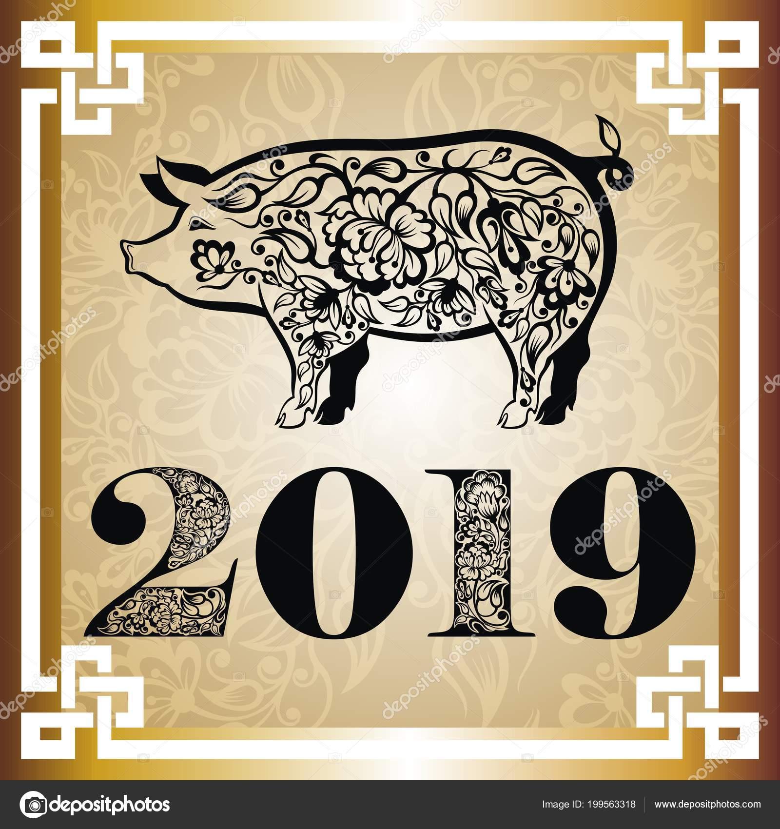 Frohes Neues Jahr Schwein 2019 Grüße Chinesisches Neujahr Jahr Des ...