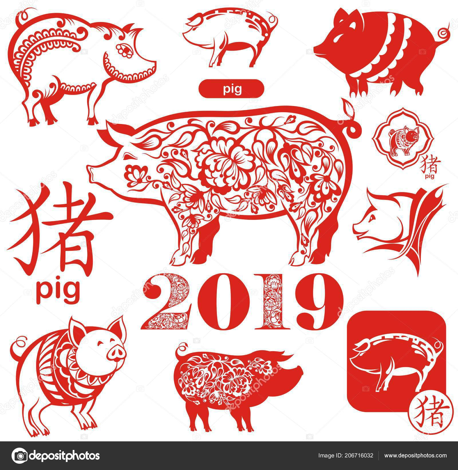cute funny pigs happy new year chinese symbols 2019 year stock vector