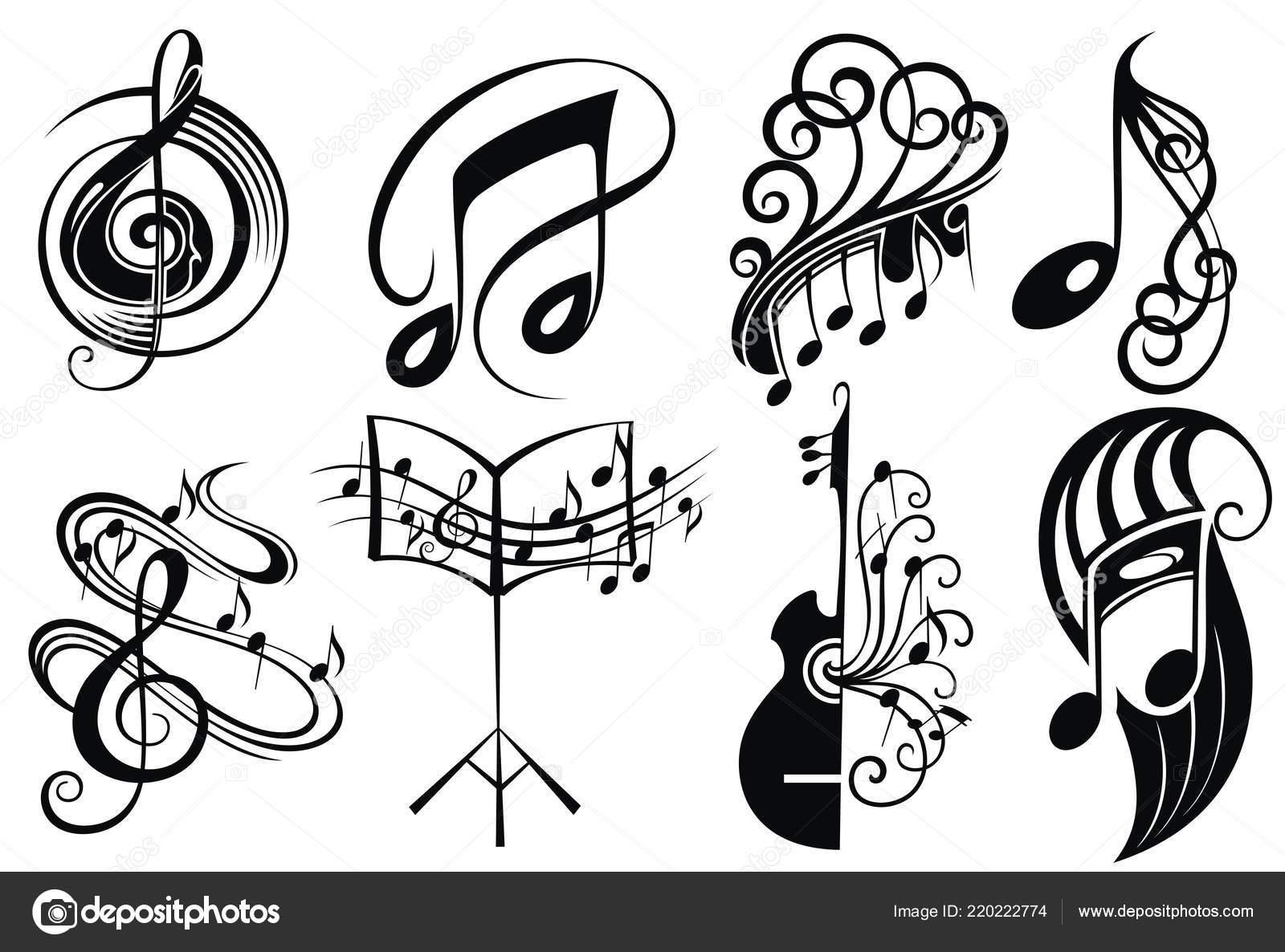Bass Note Tattoos Vector Set Logo Music Tattoo Design