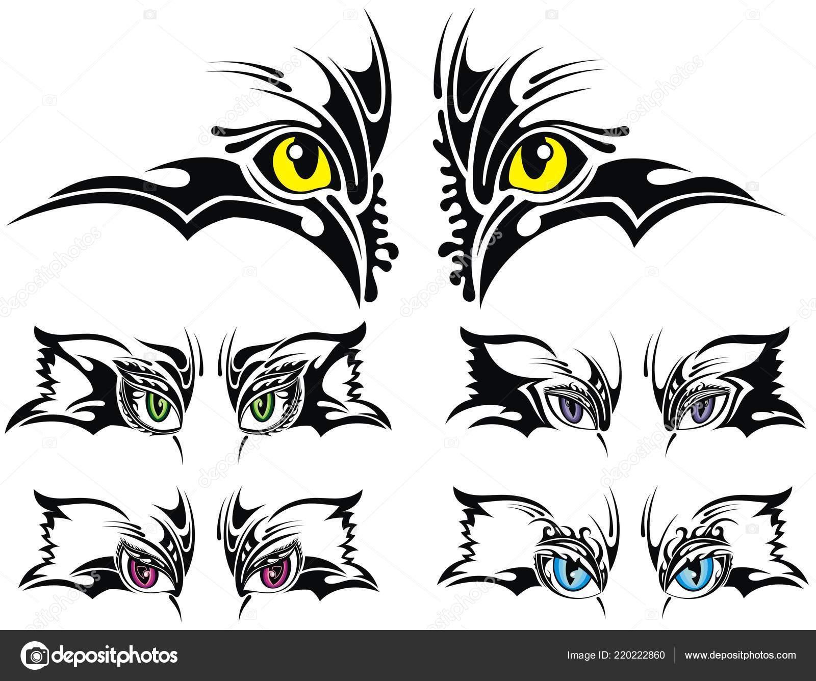 Juego Ojos Animales Diseño Tatuaje Vector De Stock Ksyshakiss