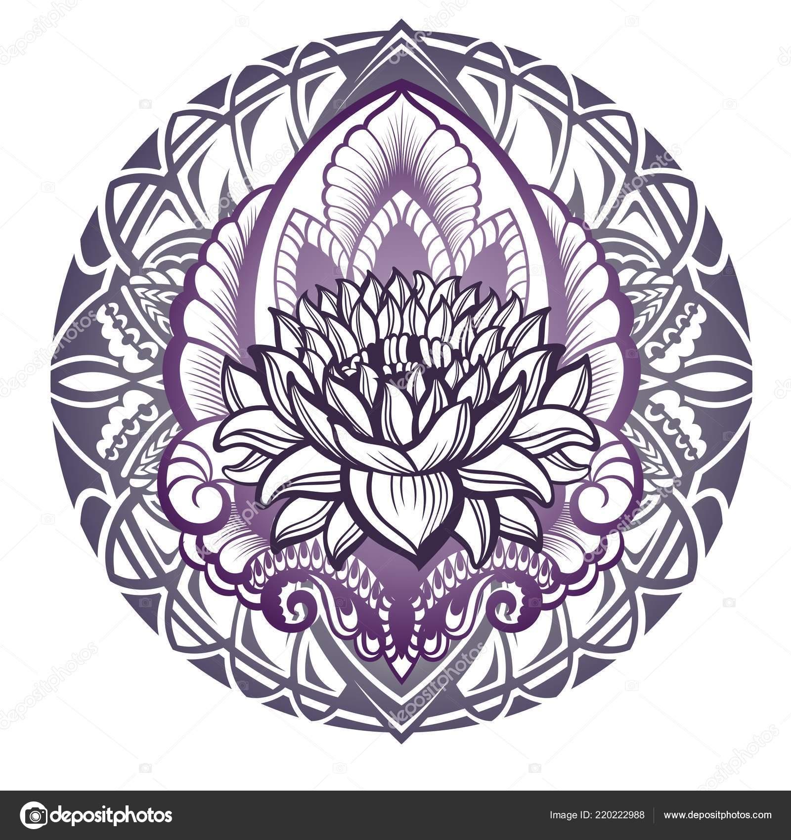Lotus Flower Silhouette Mandala Design Stock Vector Ksyshakiss