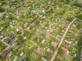 Letecký pohled na přidělení ve Švýcarsku. Koncepce městského zahradnictví.