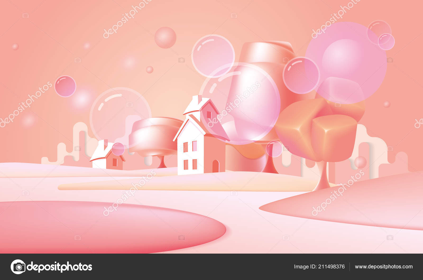 Cartoon pink world