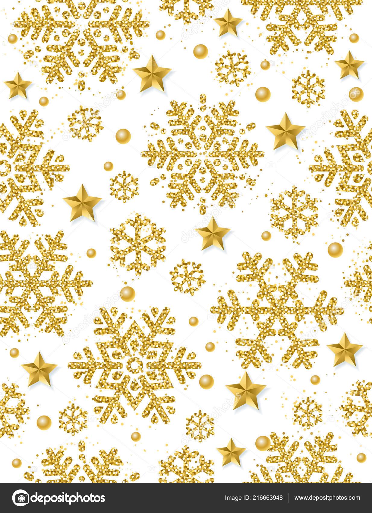 Fondo Sin Costuras Navidad Con Copos Nieve Brillantes Oro Estrellas ...