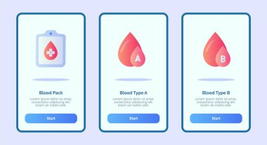 Medical icon blood pack blood type A blood type B for mobile apps template banner page UI with three variations modern flat color style vector icon