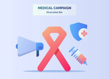Medical campaign awareness red ribbon megaphone shield protection injection with flat cartoon style
