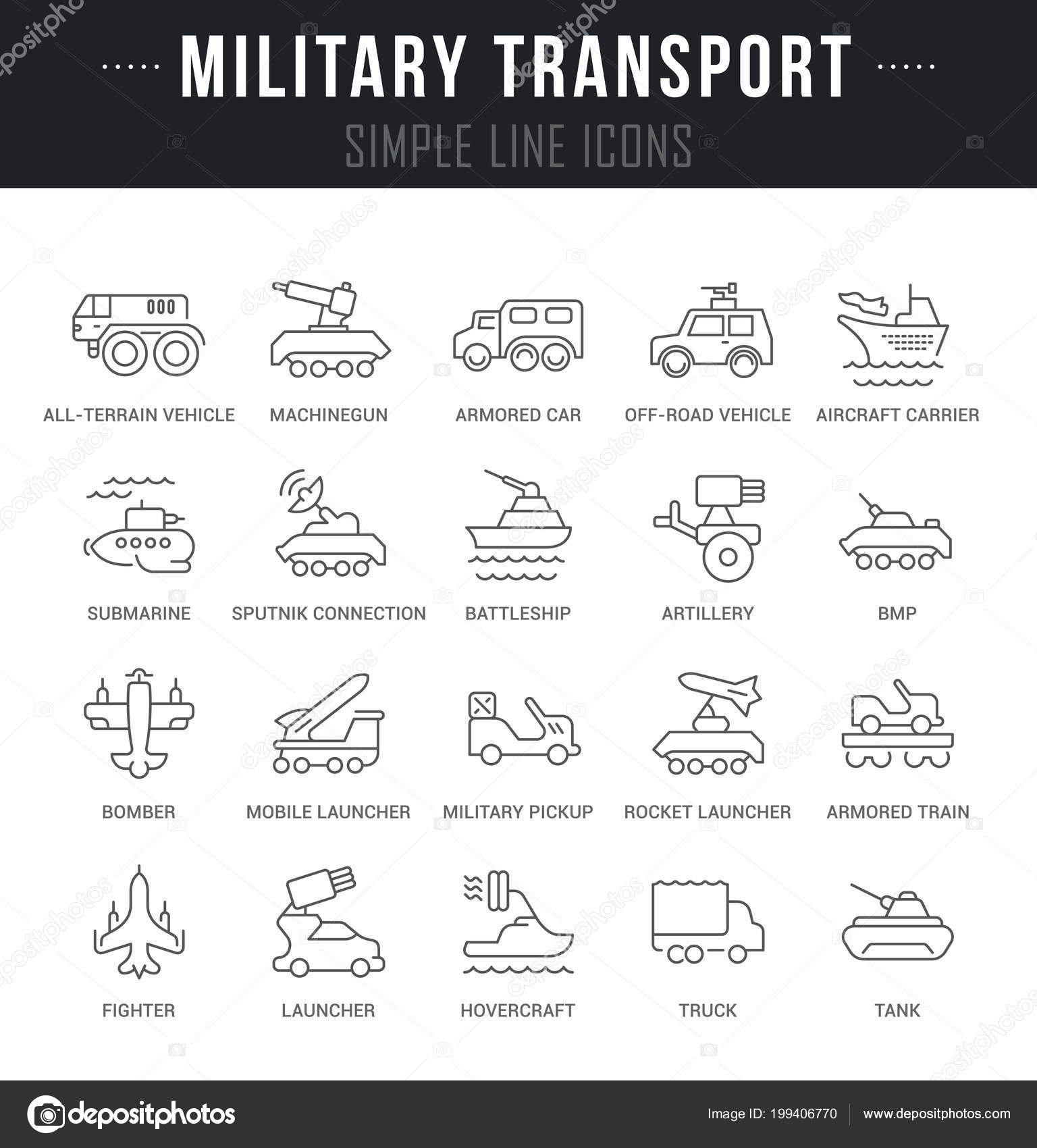 Military signs and symbols | Set Outline Signs Symbols