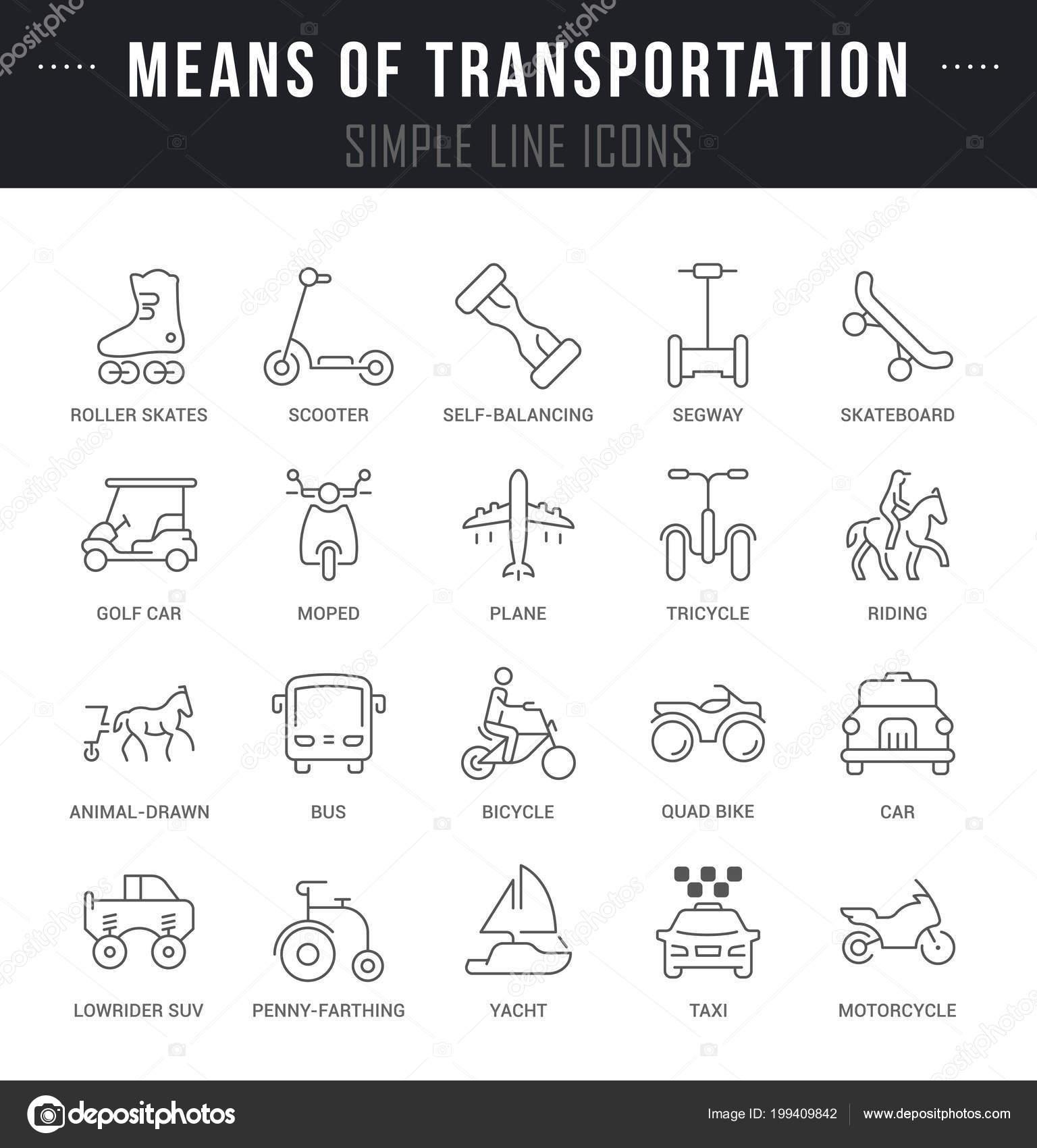 Set Outline Signs Symbols Means Transportation Names