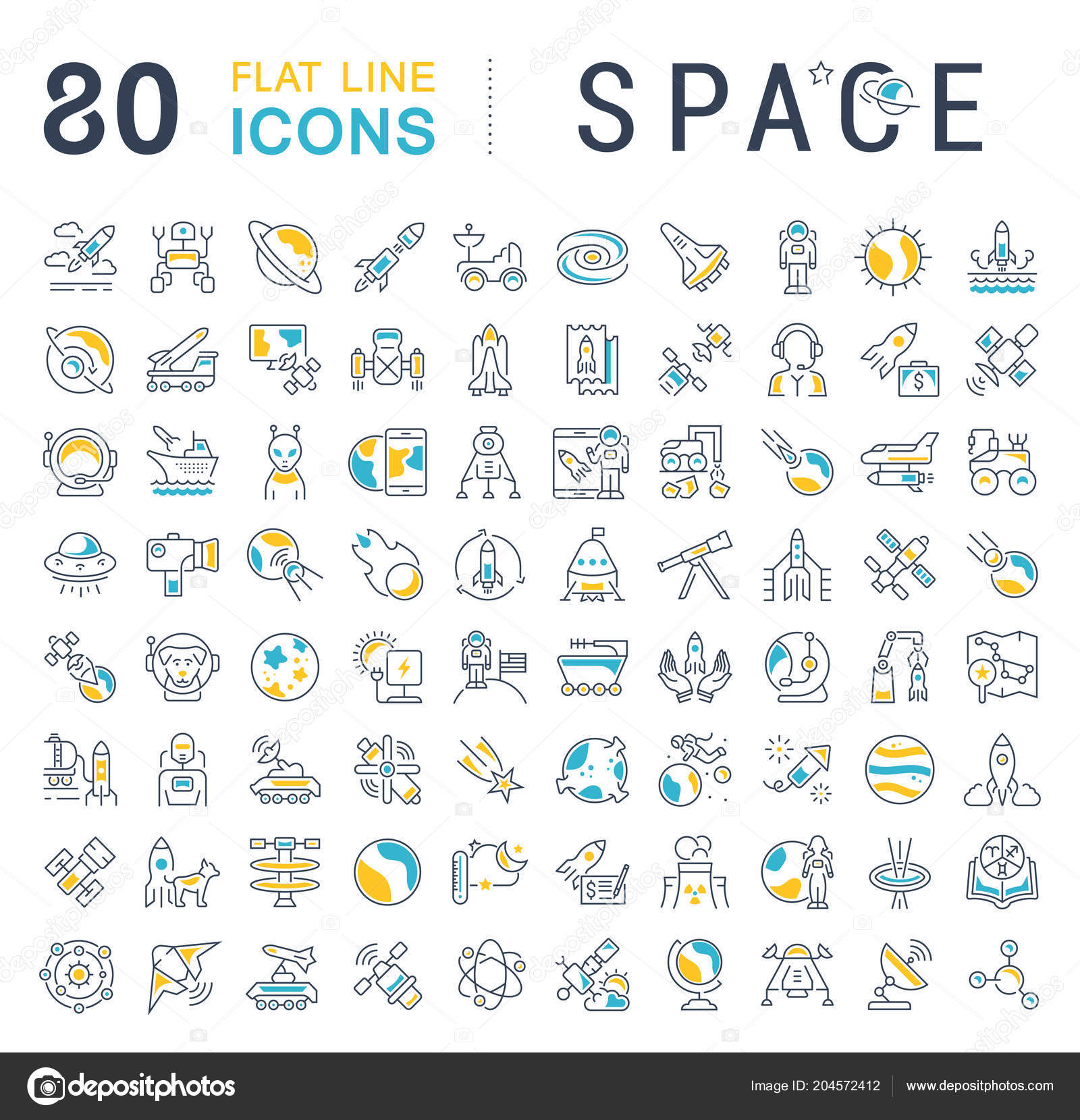 Set Vector Line Icons Sign Symbols Flat Elements Space Modern