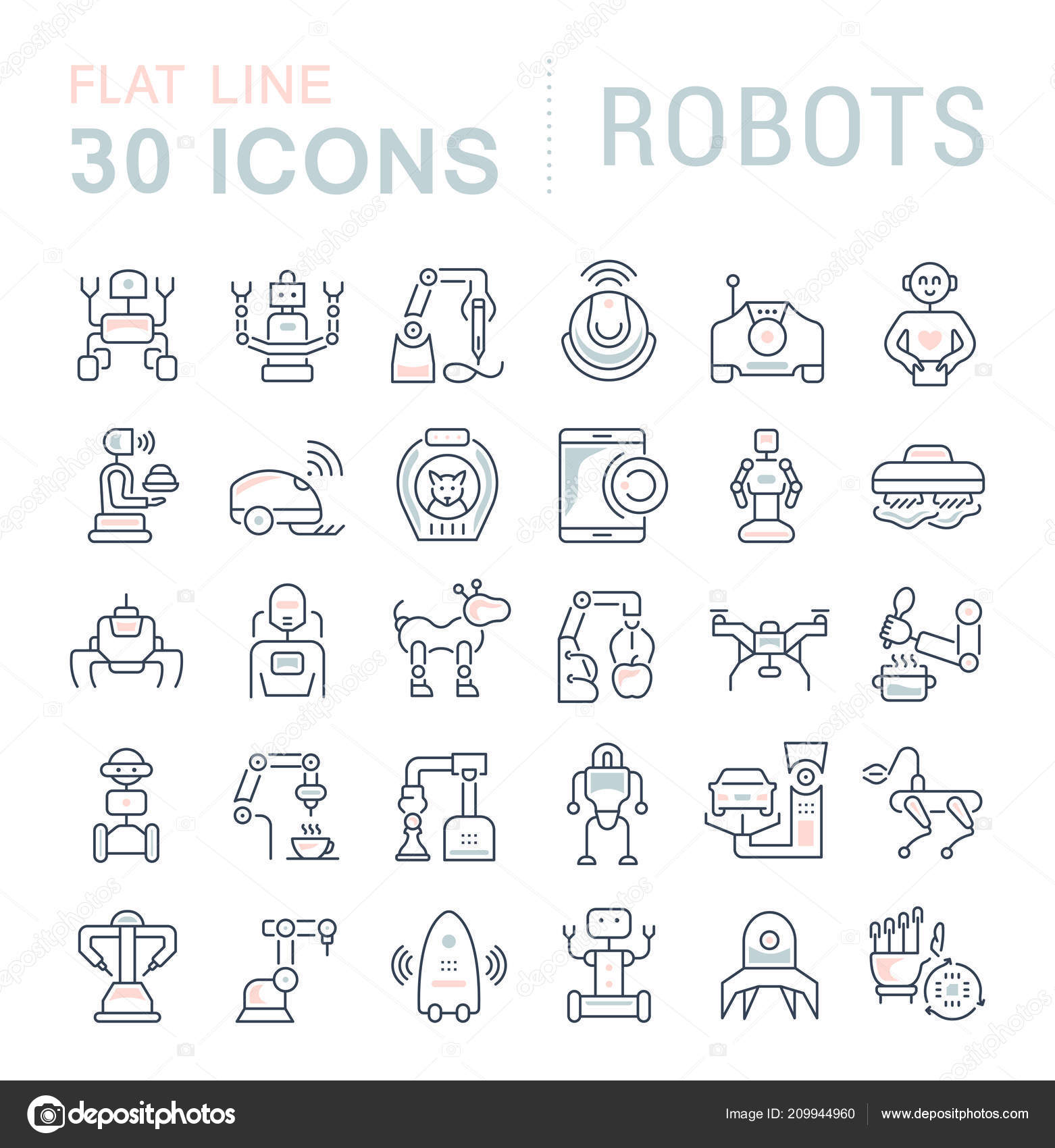 Set Vector Line Icons Sign Symbols Flat Elements Robots Modern