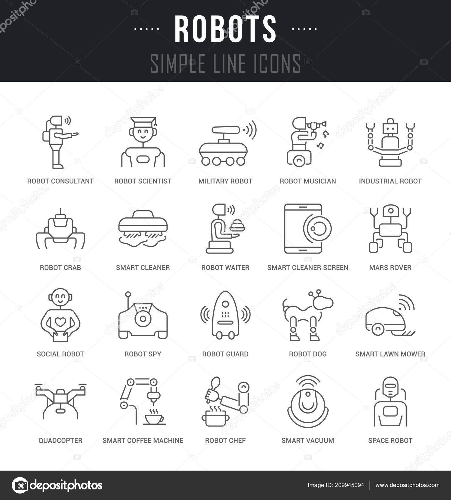 Set Outline Signs Symbols Robots Names Collection Vector