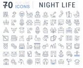 Fotografie Satz von Vektor-Linie-Icons des Nachtlebens für moderne Konzepte, Web und apps. Sex Gemeinschaften, Attraktionen, shows, Bars, Kneipen, Partys, Rauchen, tanzen, Quests, Karneval, Computerclubs, Konzerte