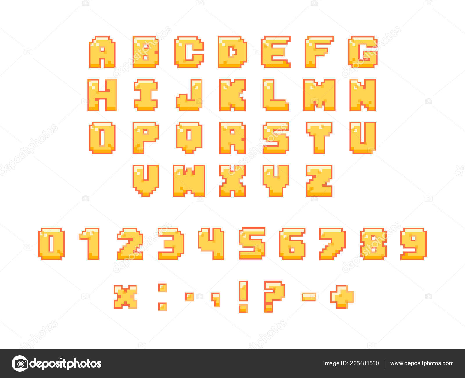 Colorful Arcade Font Pixel Letters Numbers Punctuation Marks Funny