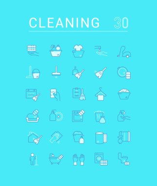 Collection of vector flat icons with thin line elements of cleaning service. Set of clean design and outline signs. Simple linear infographics and pictograms pack for web graphics and apps. icon