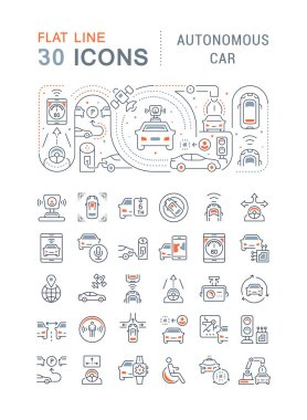 Set of vector line icons, sign and symbols with flat elements of autonomous car for modern concepts, web and apps. Collection of infographics logos and pictograms. icon
