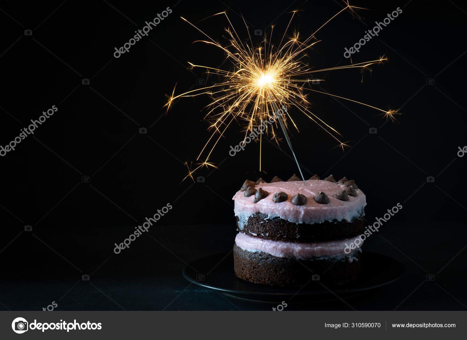 Super Chocolate Raspberry Birthday Cake Sparkler Dark Background Stock Funny Birthday Cards Online Drosicarndamsfinfo