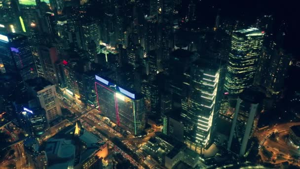 City night of Hong Kong Central district at aerial view with cinematic color graded