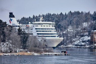 Ferry to Scandinavia. Cruise ship. Nature of the fjord and ice. 22.02.2018 Sweden