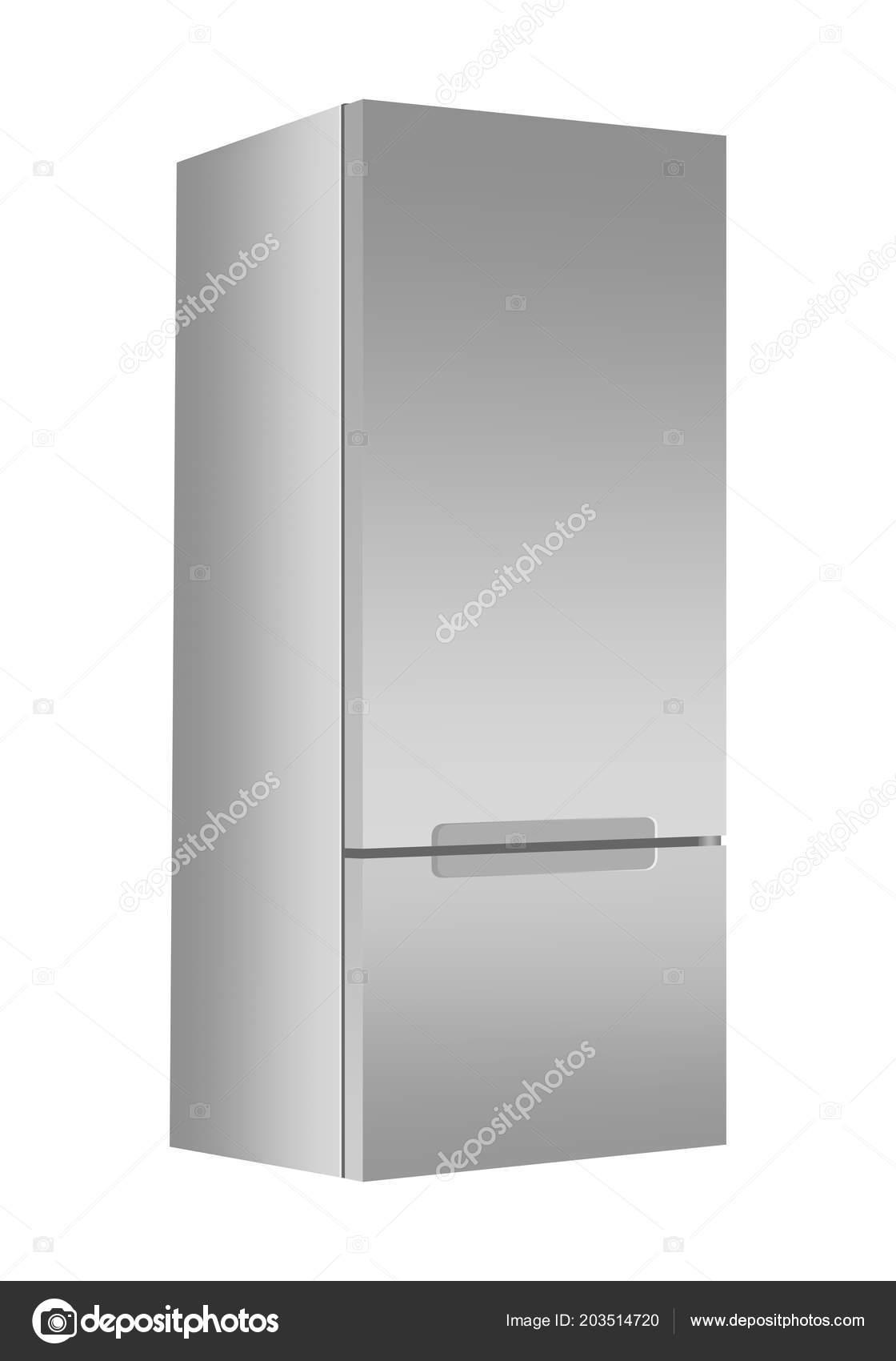 Silver Refrigerator Freezer White Background Modern Fridge Door Home ...