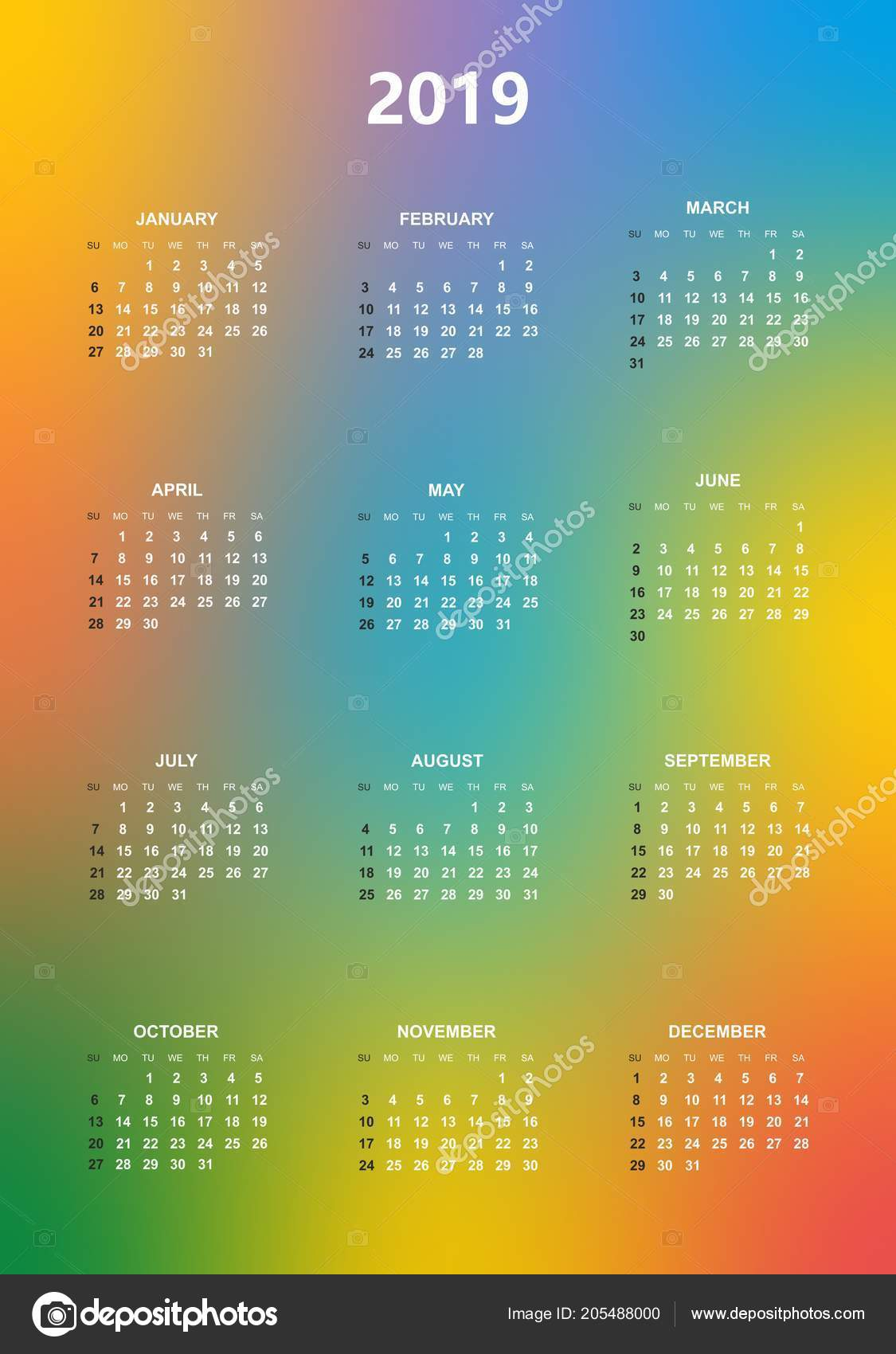 Simple Color Calendar Year 2019 Names Days Months Row Sunday — Stock