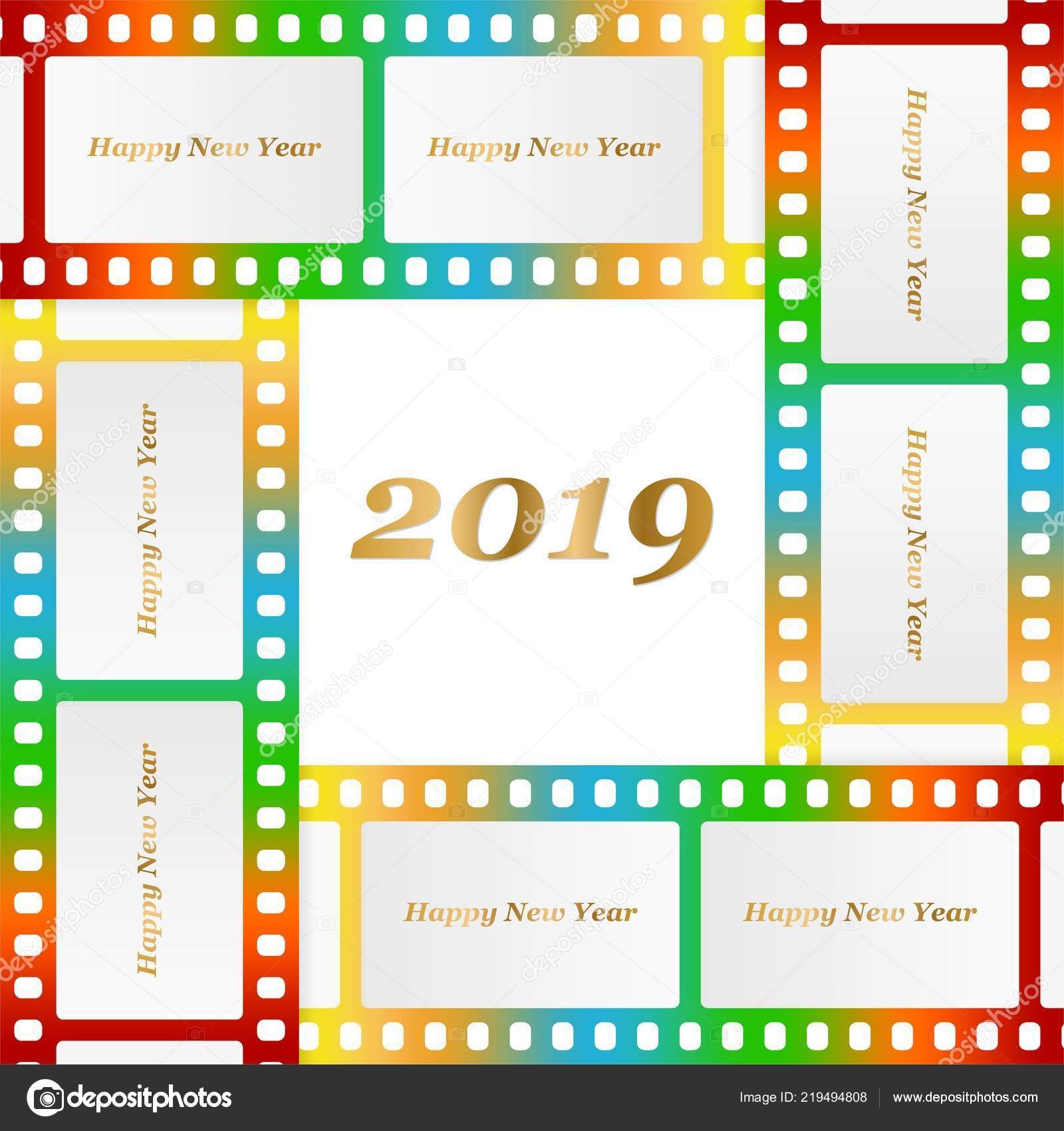 new year greetings for 2019 with colorful blank film and photographic window with golden inscription happy new year and number 2019 on a background of color