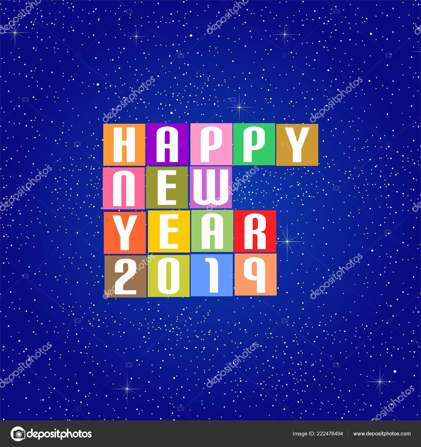 new year greetings 2019 white lettering happy new year 2019 stock vector