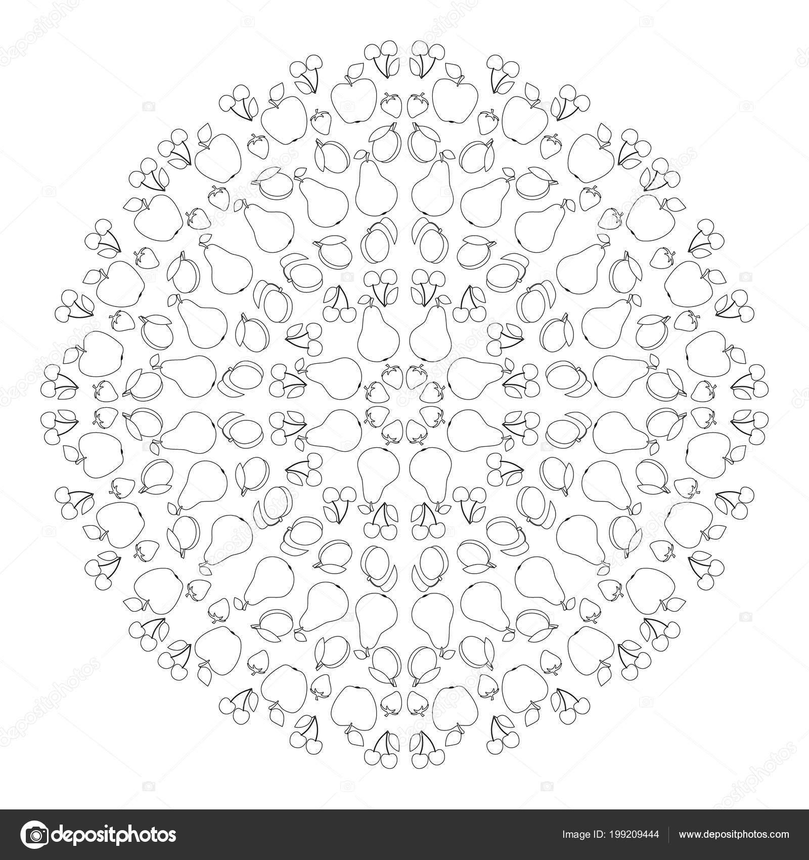 Mandala Kleurplaten Fruit.Vector Zwart Wit Circulaire Ronde Zomer Mandala Met Fruit