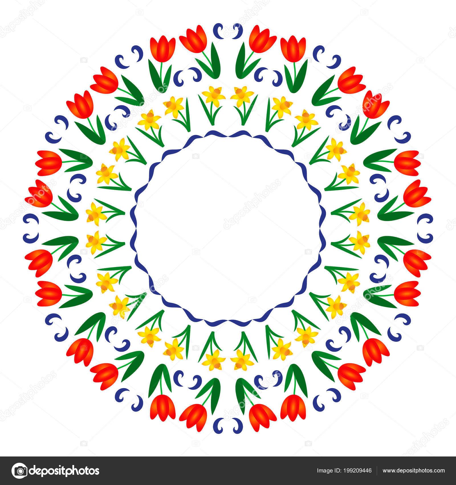 Mandala Kleurplaten Voor Volwassenen Bloemen.Vector Gekleurde Cirkelvormige Ronde Voorjaar Mandala Met Bloemen