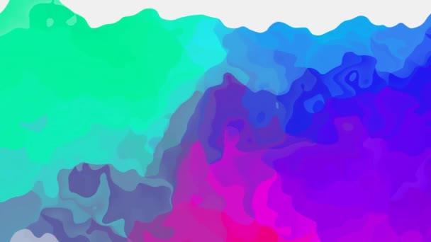 absztrakt animált festett háttér folyamatos hurok videóinak - akvarell hatás - neon holografikus kék cián zöld bíbor lila lila rózsaszín