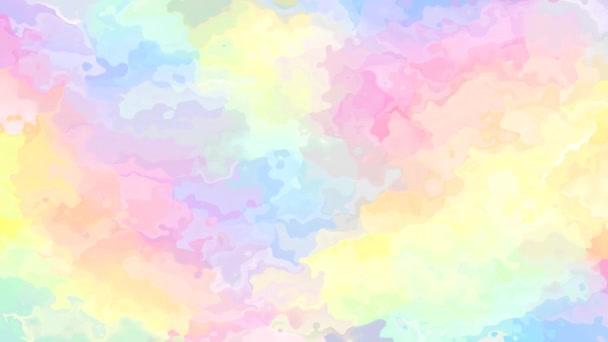 abstraktes animiertes, gefärbtes Hintergrundvideo in nahtloser Endlosschleife - Aquarell-Effekt - niedliches Farbpastellspektrum - Hologramm