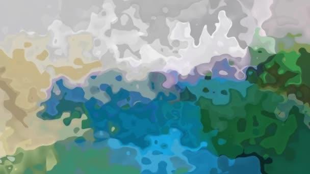 abstraktní, animované obarví pozadí bezešvé smyčka video - akvarel skvrnou efekt - modré, zelené, béžové a šedé barvy