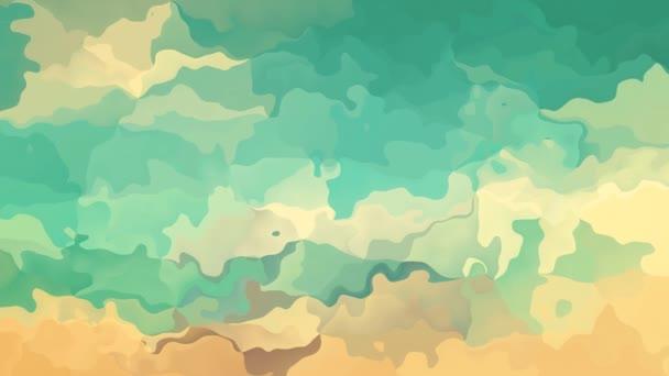 abstraktní, animované obarví pozadí bezešvé smyčka video - akvarel skvrnou efekt - vintage retro grunge modré tyrkysově zelené šedozelená béžové šedohnědá pískové barvy