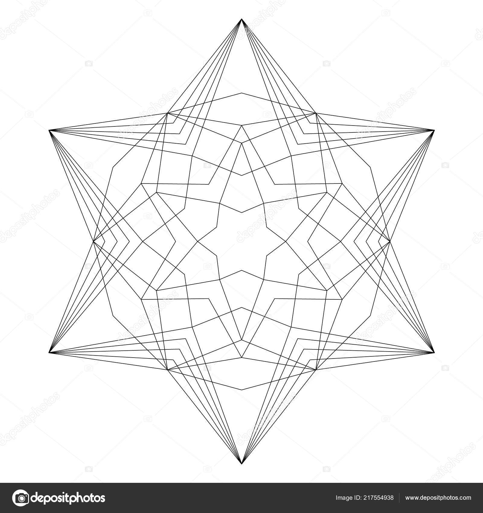 Vektör Siyah Beyaz Basit Noel Mandala Hexagram Yıldız şekli Kitap
