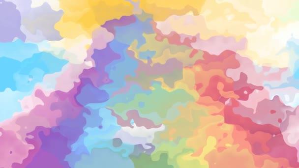 abstraktní, animované obarví pozadí bezešvé smyčka video - akvarel skvrnou efekt - jednorožec pastelové barvy plné spektrum duhy