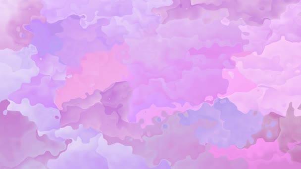 abstraktní, animované obarví pozadí bezešvé smyčka video - akvarel skvrnou efekt - růžová, levandulová fialová, fialová barva