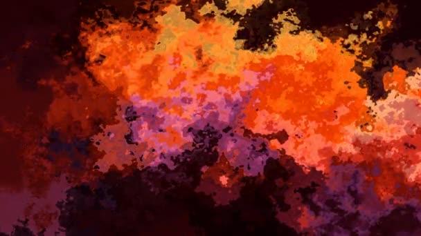 abstraktní animovaný twinking obarví pozadí bezešvé smyčka video - akvarel skvrnou efekt - horké ohnivě oranžové červené žlutá hnědá fialové barvy